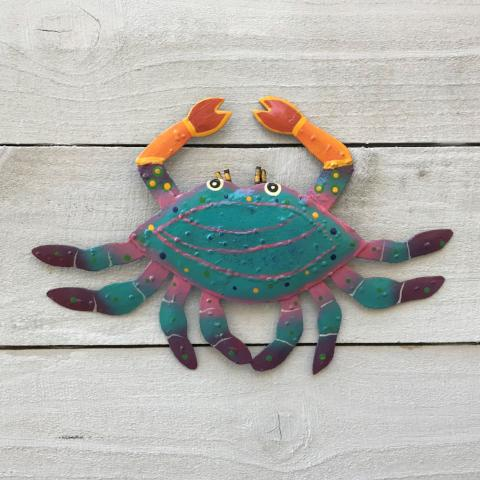 Metal Teal Fuchsia Crab Wall Art by Caribbean Rays