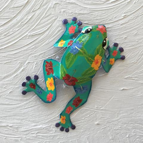 Metal Teal Hibiscus Frog Wall Decor by Caribbean Rays