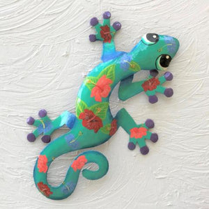 Paulo Metal Hibiscus Gecko Wall Decor