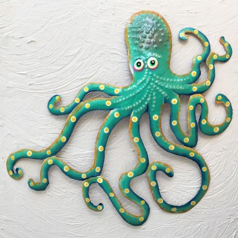 Metal Teal Octopus Wall Art