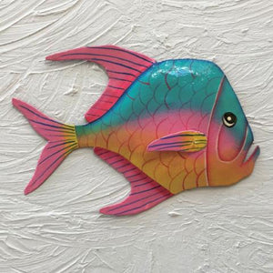 Metal Teal Pink Yellow Lookdown Fish Wall Art by Caribbean Rays
