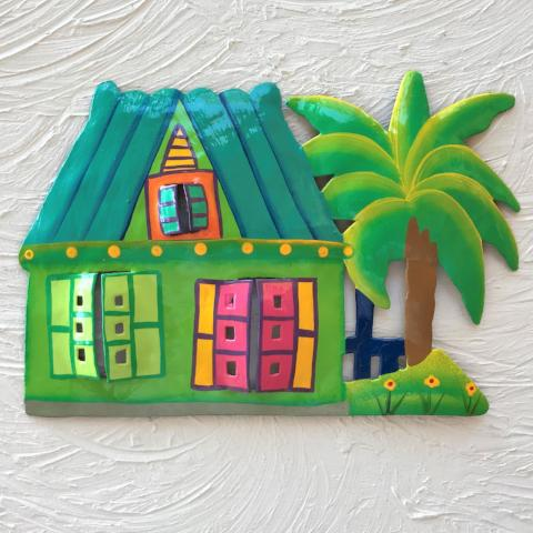 Metal Teal Roof Caribbean Beach Hut Wall Art