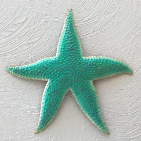 Metal Teal Star Fish Wall Accent by Caribbean Rays