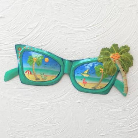 14in Teal Metal Sunglasses with Palm Tree Wall Art by Caribbean Rays