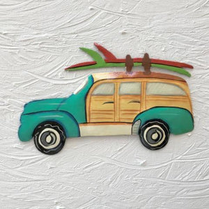 Metal Teal Woody Beach Wagon wall decor by Caribbean Rays