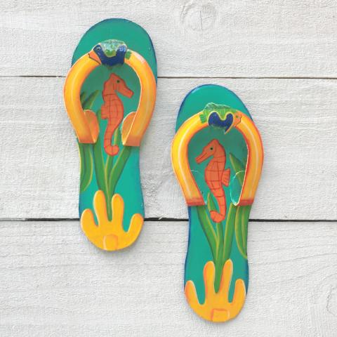 2pc 9in Aqua & Yellow Seahorse Flip Flops Metal Wall Decor by Caribbean Rays