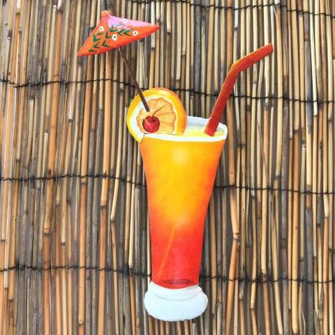 12in Tequila Sunrise Tropical Drink Metal Wall Accent by Caribbean Rays