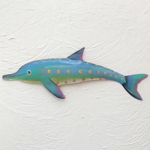 48in Metal Turquoise Metal Dolphin Wall Art by Caribbean Rays