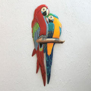 Metal Red & Blue Love Parrots Metal Wall Decor by Caribbean Rays
