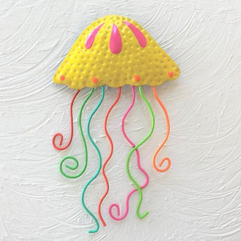 Yellow Metal Jellyfish Wall Decor by Caribbean Rays
