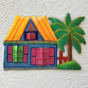 Metal Yellow Roof Caribbean Beach Hut Wall Art