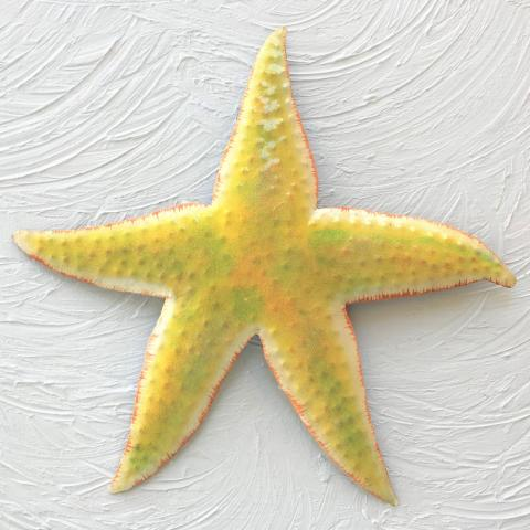 Metal Yellow Starfish Wall Art by Caribbean Rays