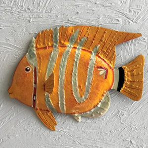 Silver Stripe Yellow Fish Wall Decor