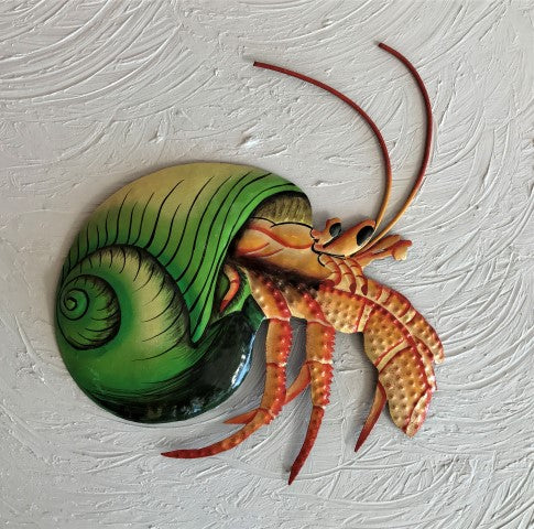 13in Metal Green Hermit Crab Wall Decor
