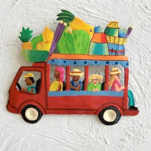 8in Red Metal Island Bus Wall Decor by Caribbean Rays