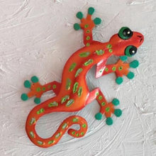 Orange Sculpted Metal Gecko Wall Decor by Caribbean Rays