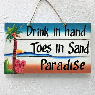 16in Distressed Drink in the Hand Wood Sign by Caribbean Rays
