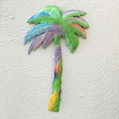 Metal Pastel Palm Tree Wall Art by Caribbean Rays