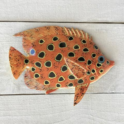 Black Spotted Resin Tropical Fish Wall Decor by Caribbean Rays