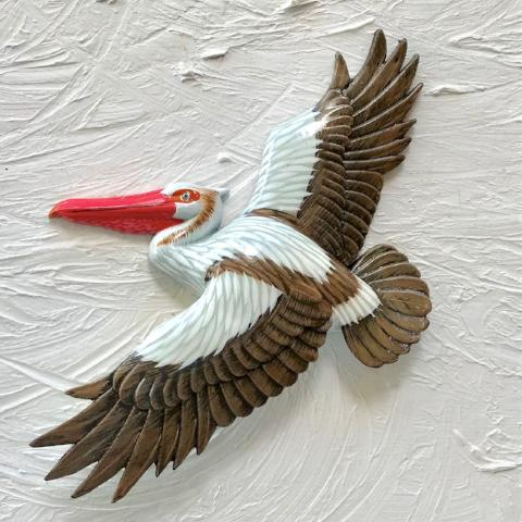 18in Brown Flying Pelican Resin Wall Decor