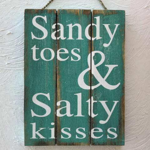 16in Sandy Toes and Salty Kisses Teal Wood Sign by Caribbean Rays