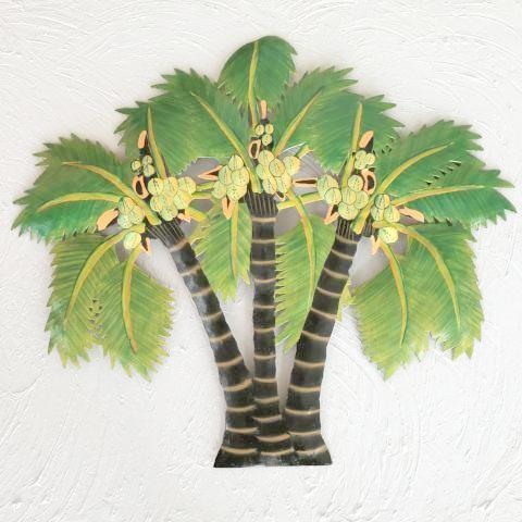 22in Triple Canary Palm Tree Metal Wall Art by Caribbean Rays