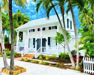 White Porch Canvas Giclee Print Wall Art