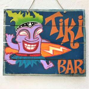16in Distressed Tiki Surfer Tiki Bar Wood Sign Accent by Caribbean Rays