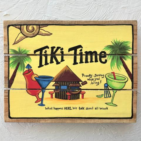 16in Tiki Time Wood Sign By Caribbean Rays