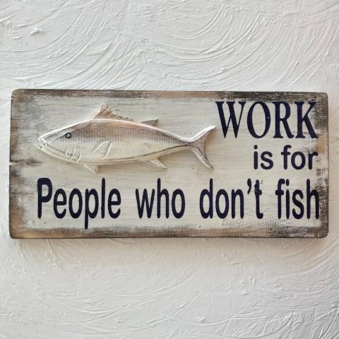18in Work is For People Wood Sign by Caribbean Rays