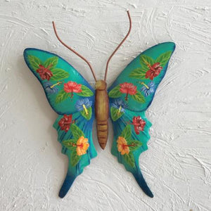 Metal Hibiscus Teal Butterfly Wall Decor by Caribbean Rays