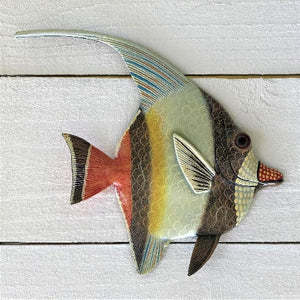 Brown and Yellow Stripe Angelfish Wall Decor by Caribbean Rays
