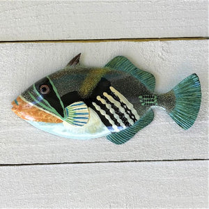 Green Lagoon Triggerfish Resin Tropical Fish Wall Decor by Caribbean Rays