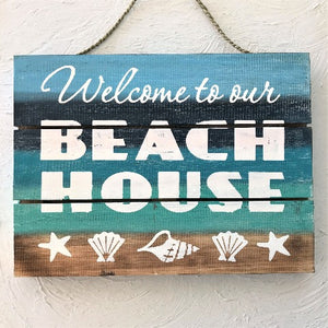 16in Distressed Multi-Color Welcome to our Beach House Wood Sign by Caribbean Rays