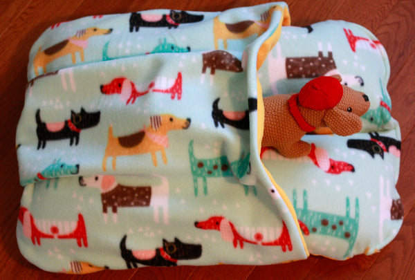 Yellow and Aqua Dachshund Print Pocket Bunbed with Plush Dog