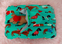 Blue Holiday Dachshund Bunbed on Pink Background