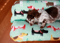 Dogs on Blue,  Aqua Gold Yellow Fleece Bunbed, Dachshund Hot Dog Bun Bed