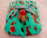 Front View of Blue Holiday Dachshund Bunbed