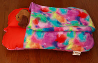 Colorful Pink Orange and Purple Pocket Bunbed with Dog Plush in Pocket