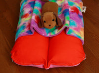 Deep Orange and Colorful Fleece Pocket Bunbed and Dog Plush