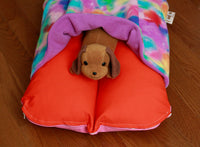Colorful Orange, Purple and Pink Fleece Bunbed with Dog Plush in Pocket