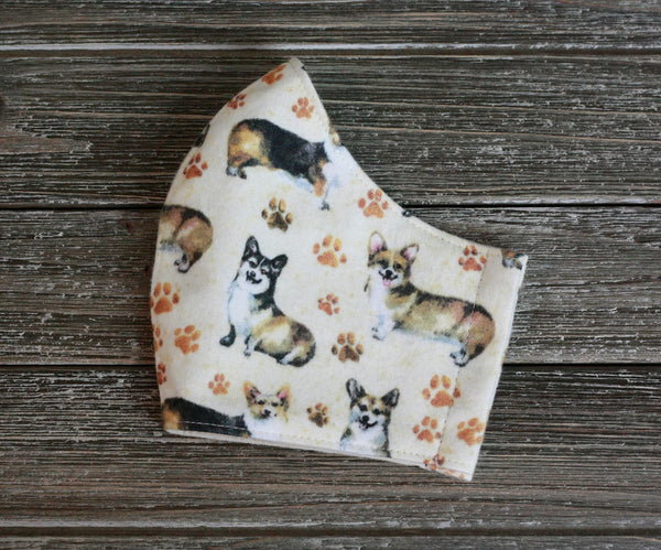 Corgi Pembroke Welsh Dog 2-Layer Cotton Flannel Face Mask Washable Reusable Made in USA