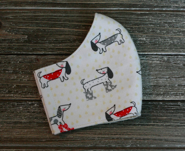 2-Layer Funny Dachshund Dog Love Cotton Flannel Face Mask Washable Reusable Made in USA