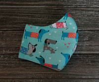 Flannel Blue Dog Print Face Mask