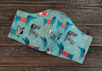 Blue Flannel Dachshund Print Face Mask Opened