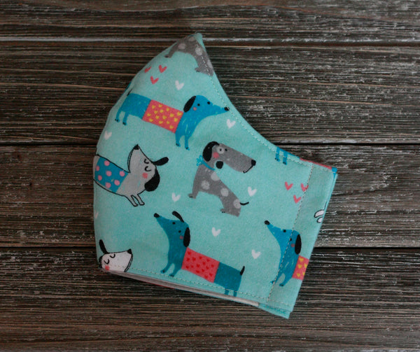 2-Layer Dachshund Love Cotton Flannel Face Mask Washable Reusable Made in USA