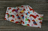 Top View of Colorful Dachshund Cotton Face Mask