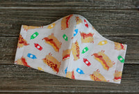 2-Layer Dachshund Hot Dog Frankfurter Cotton Flannel Face Mask Washable Reusable Made in USA