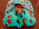 Aqua Blue Holiday Dachshund Dog Bed