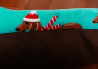 Close Up of Blue Holiday Dachshunds Bunbed Fabric